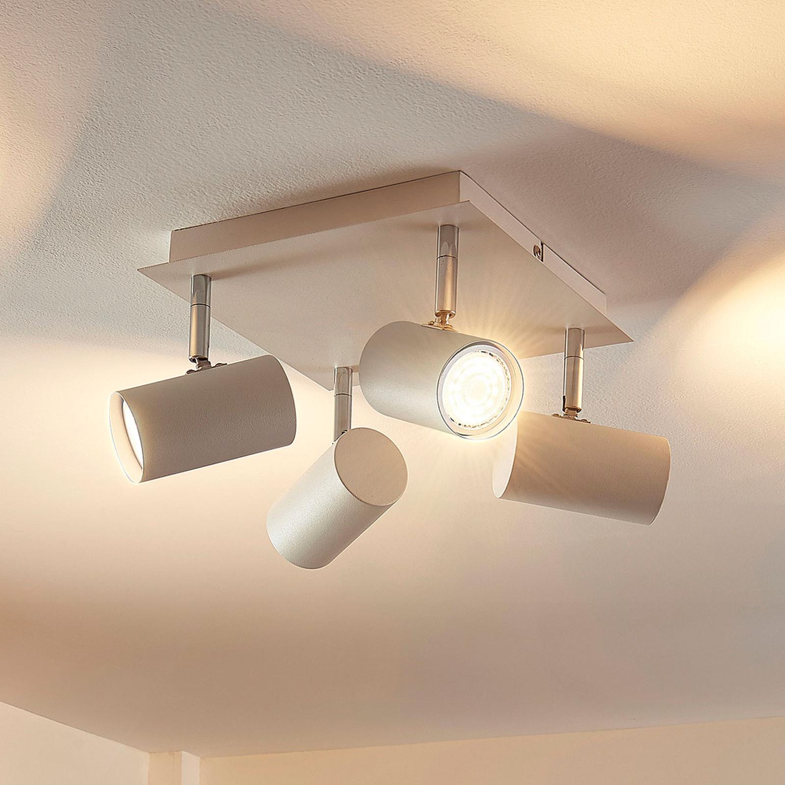 Kvadratisk LED-taklampe Iluk, fire lys