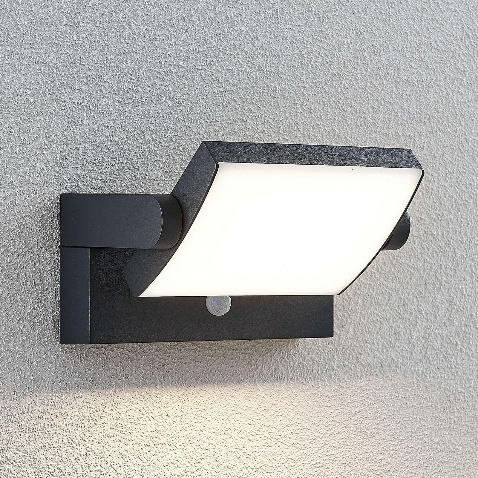 Udendørs LED-væglampe Sherin, drejelig med sensor