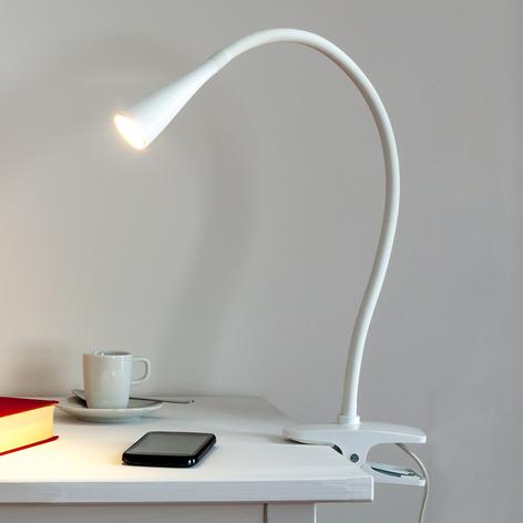 Smal LED-klemmelampe Baris i hvitt