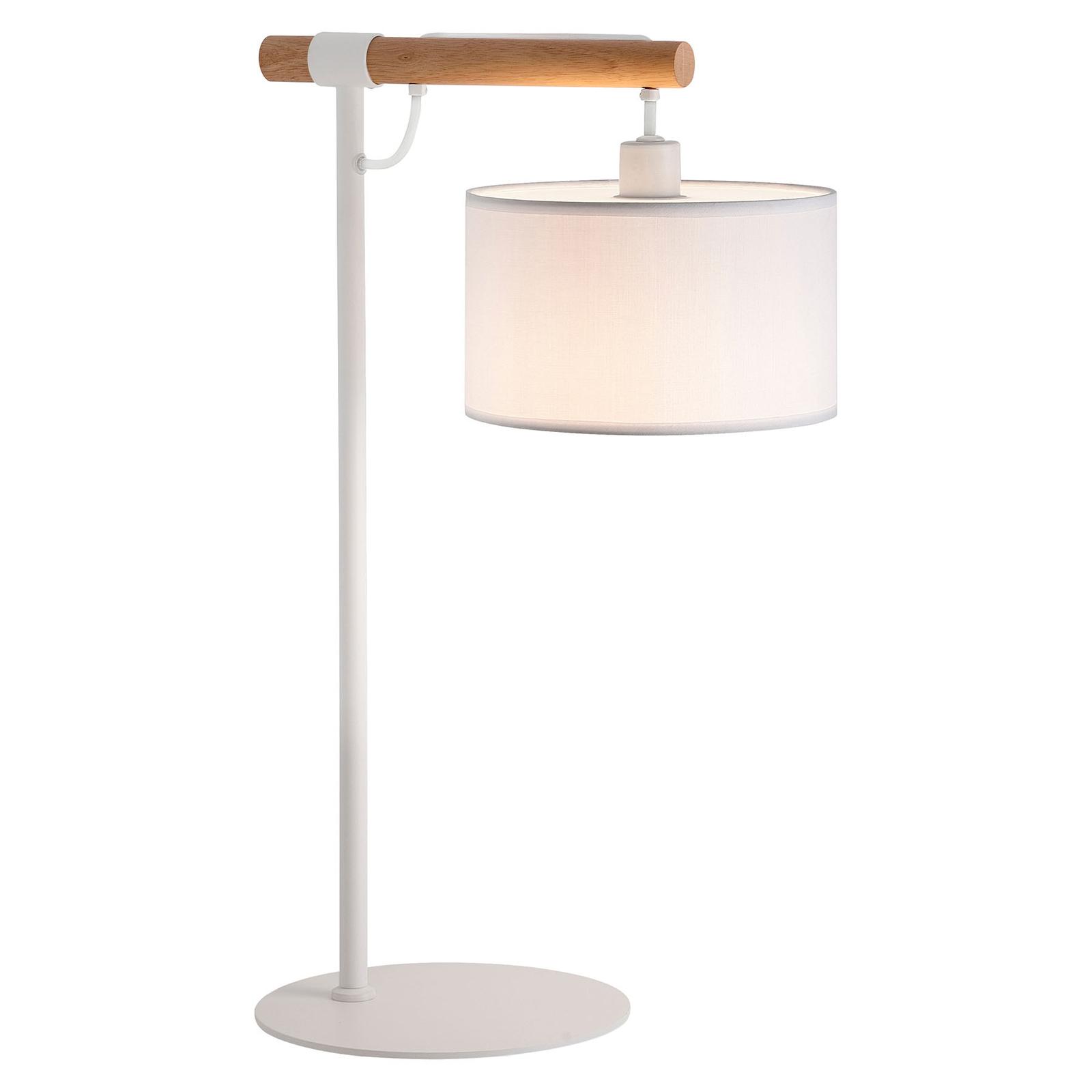 Tafellamp Romeo met stoffen kap, wit