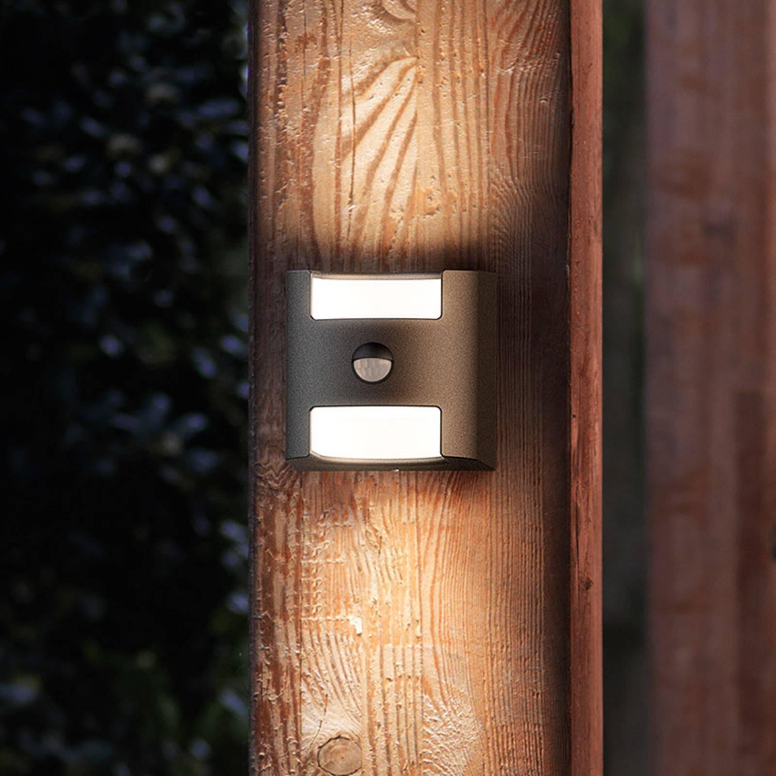 Grass - sensor wandlamp in antraciet met LED licht