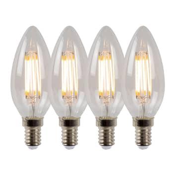 Bombilla vela LED E14 4W 2700K atenuable, set 4