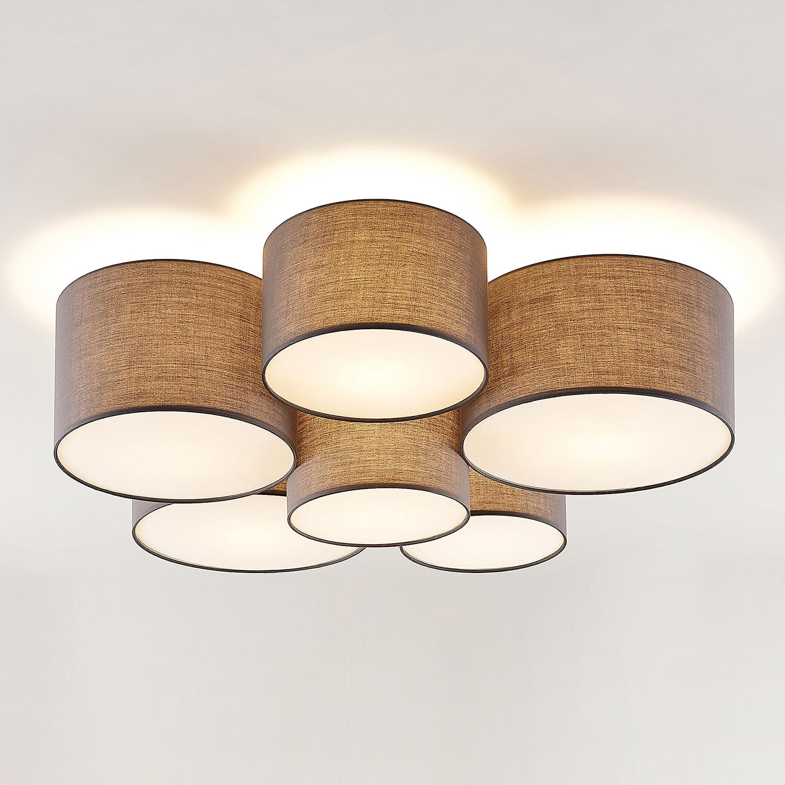 Lindby Laurenz taklampa, 6 lampor, grå