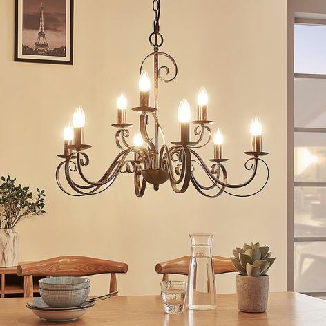 Lámpara de arañaCaleb con 9luces, estilo rural