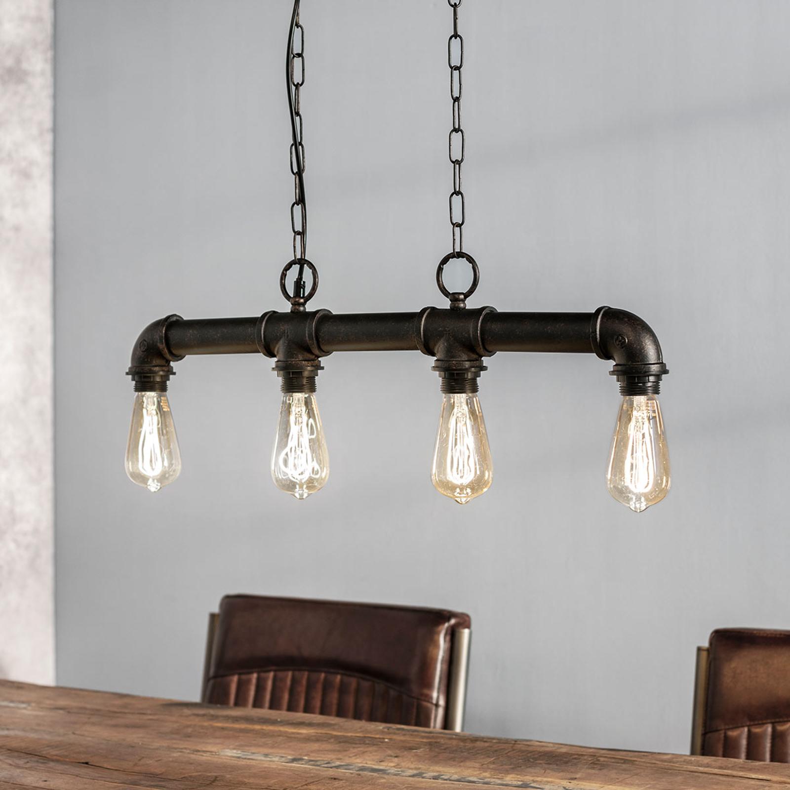 Delare - hanglamp met 4 lampjes in ruwe optiek