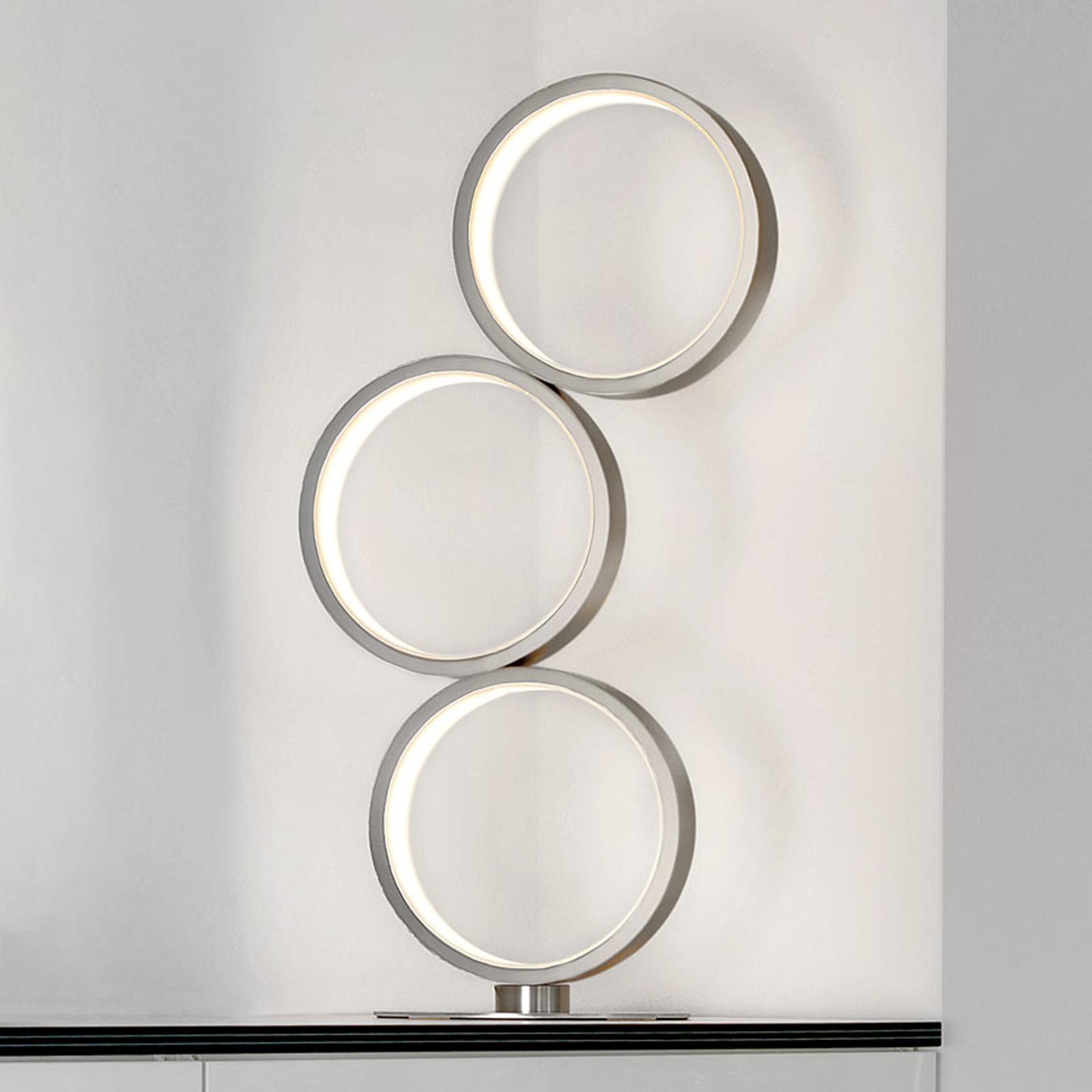 LED-Tischleuchte Loop mit drei Ringen, dimmbar
