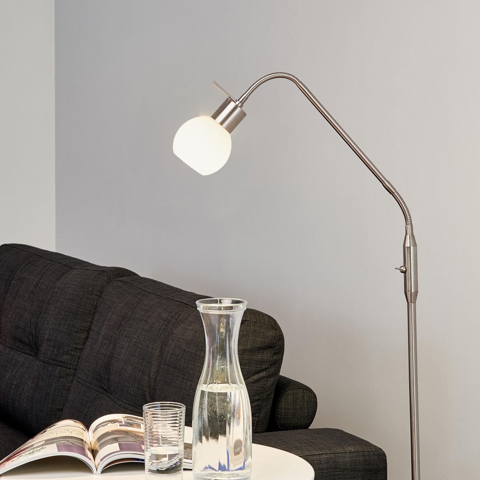 Smalle LED-vloerlamp Elaina mat nikkel