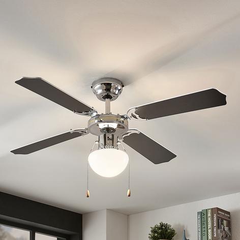 Ventilateur de plafond Joulin, éclairé, noir/blanc