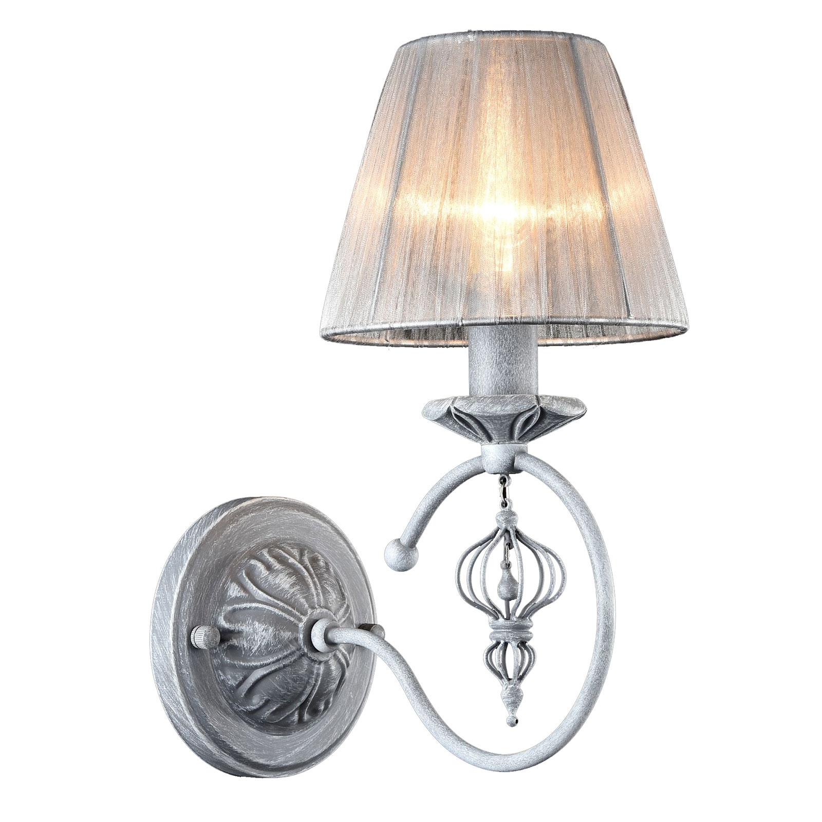 Wandlamp Monsoon met grijze Organza-kap