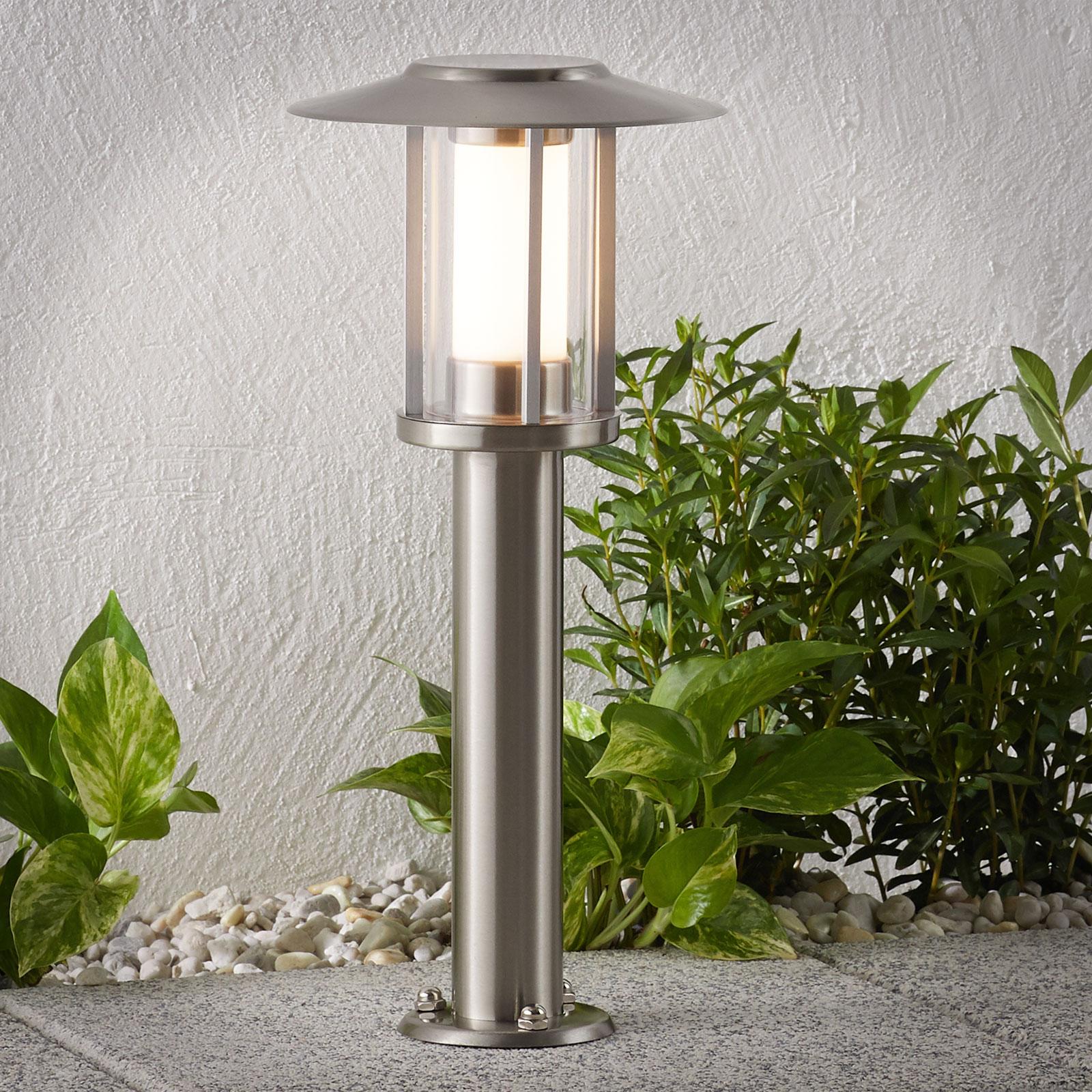 LED-Sockellampe Gregory, Edelstahl
