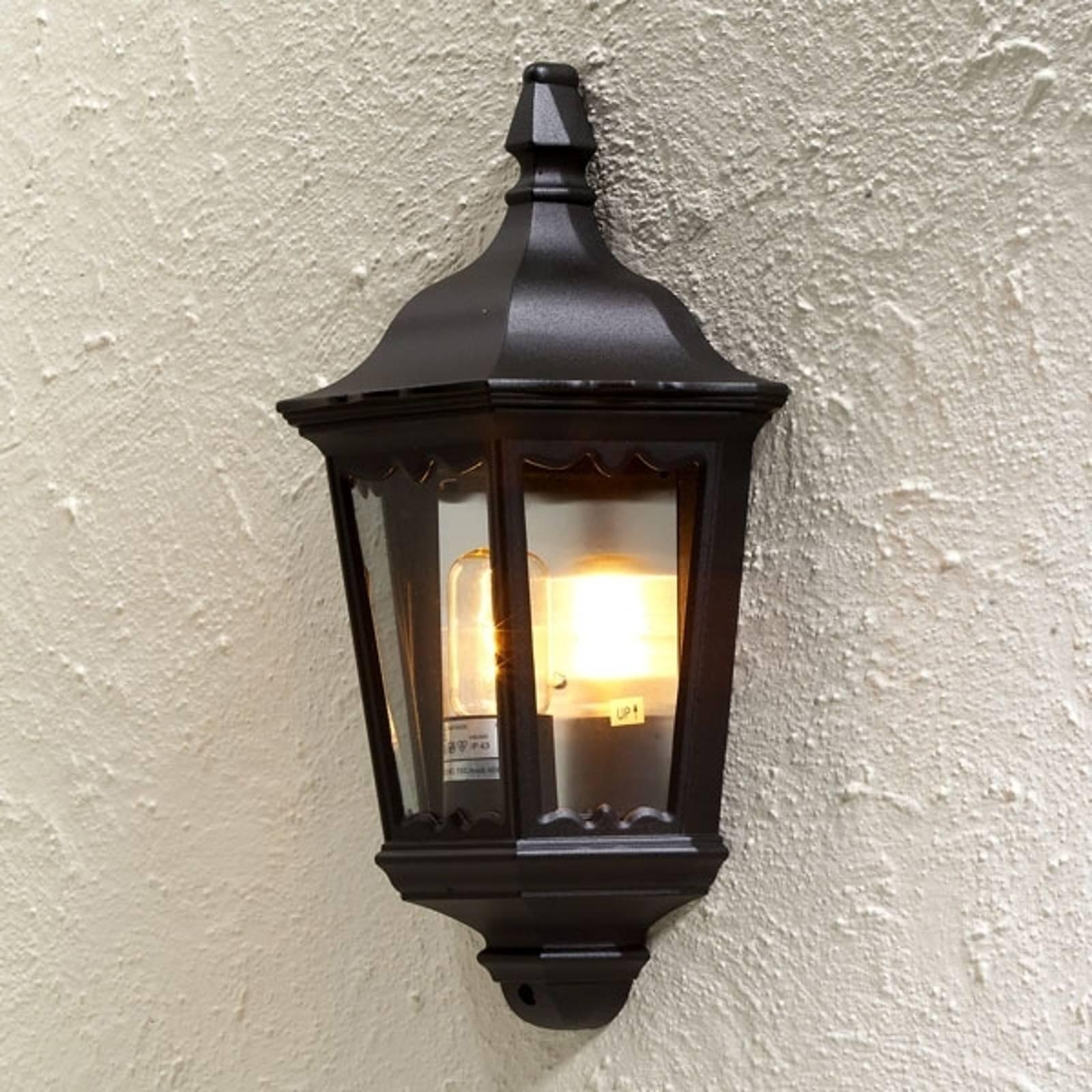 Buitenwandlamp Firenze, halve schaal, zwart