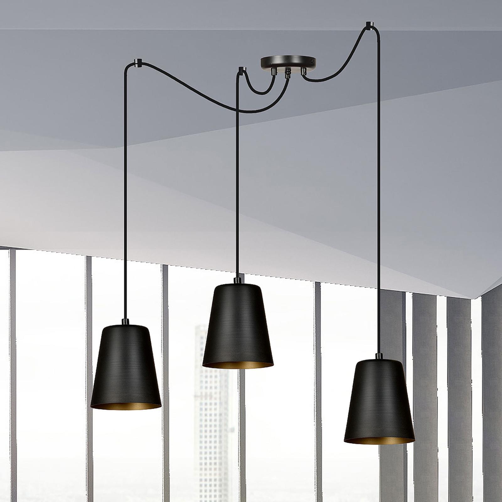 Pendellampe Link i svart, 3 lyskilder