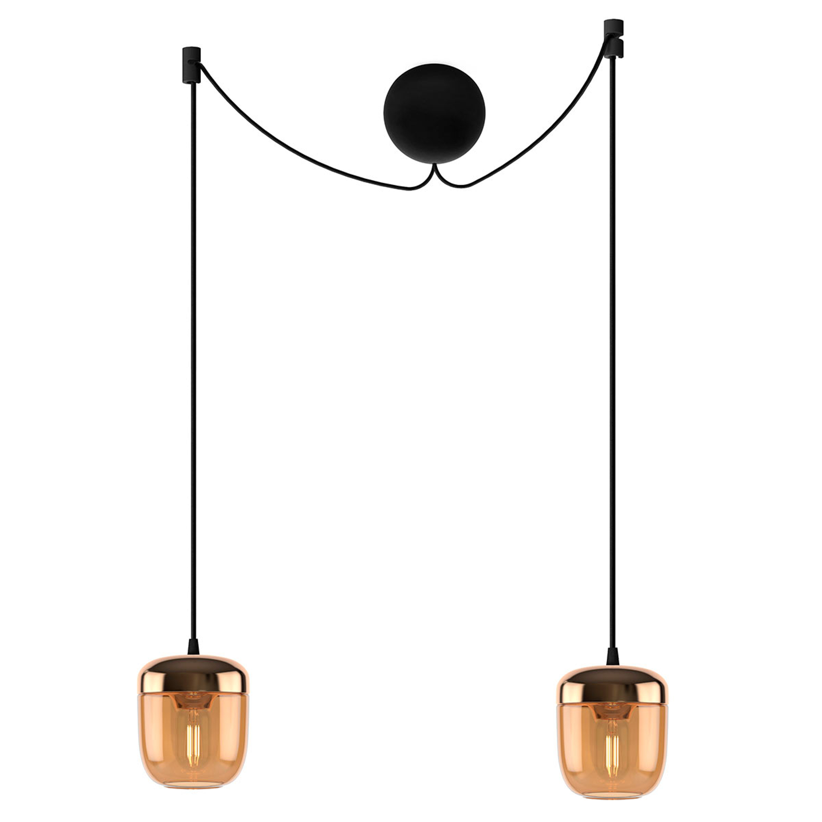 UMAGE Acorn suspension à 2 lampes ambre laiton