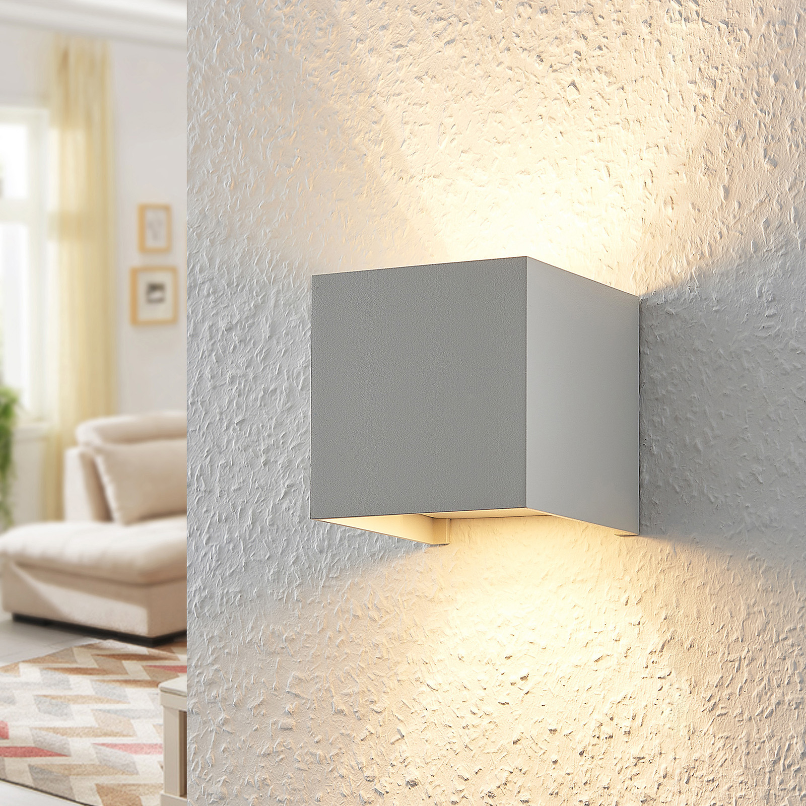 ELC Jördis wandlamp, G9, hoekig, wit