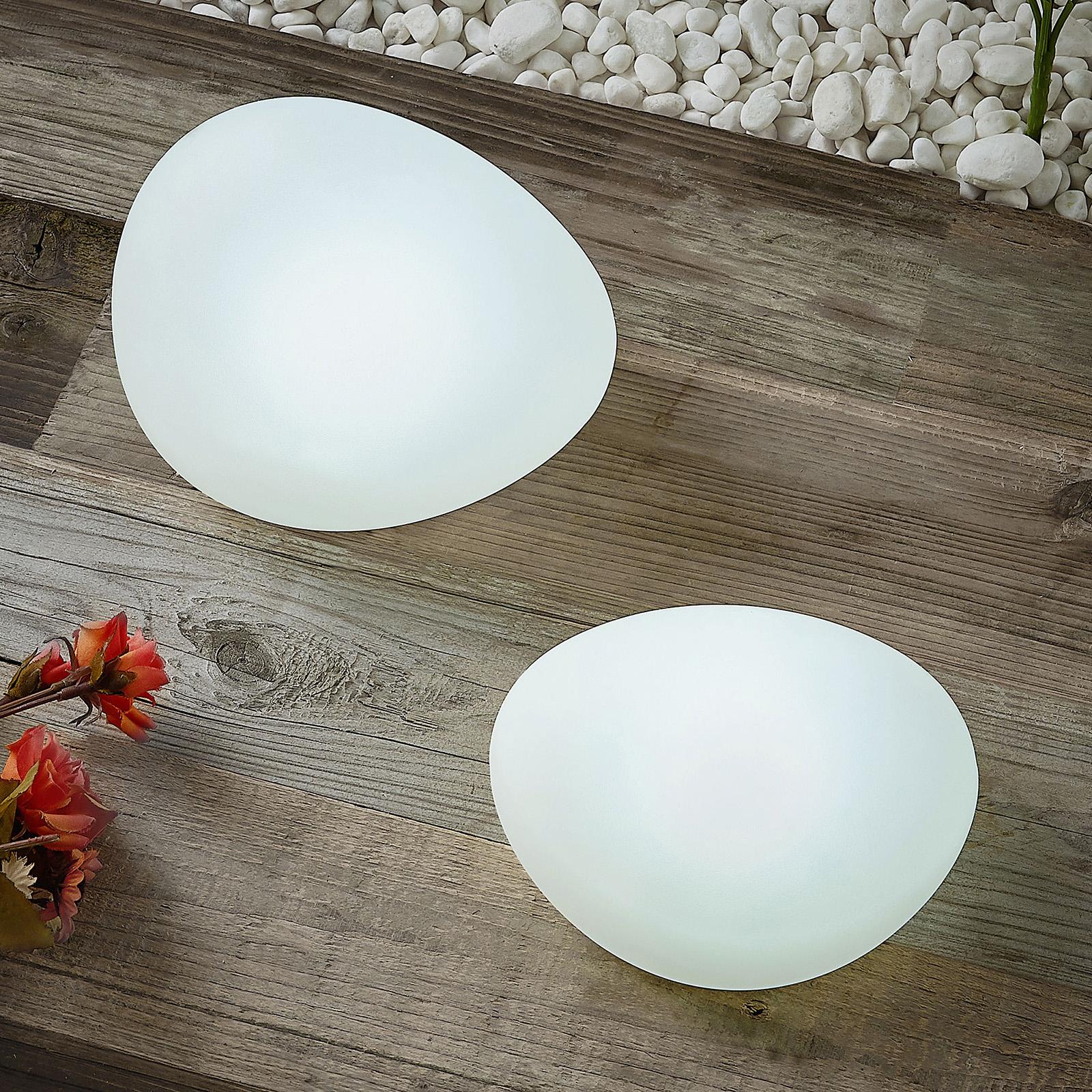 Lindby Pebbla LED-solar-sfeerlampen, 2 per set