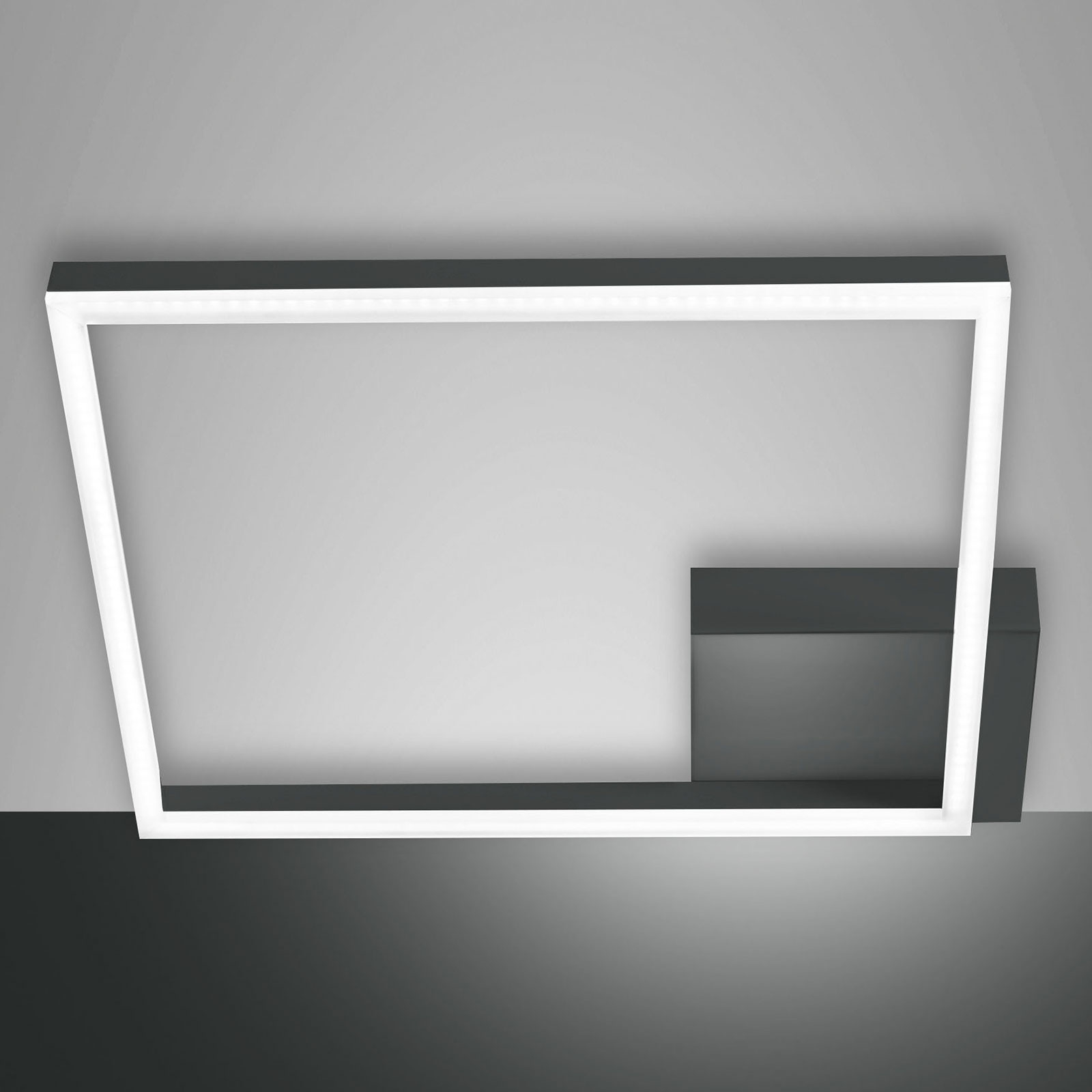 Plafonnier LED Bard, 42x42 cm, anthracite