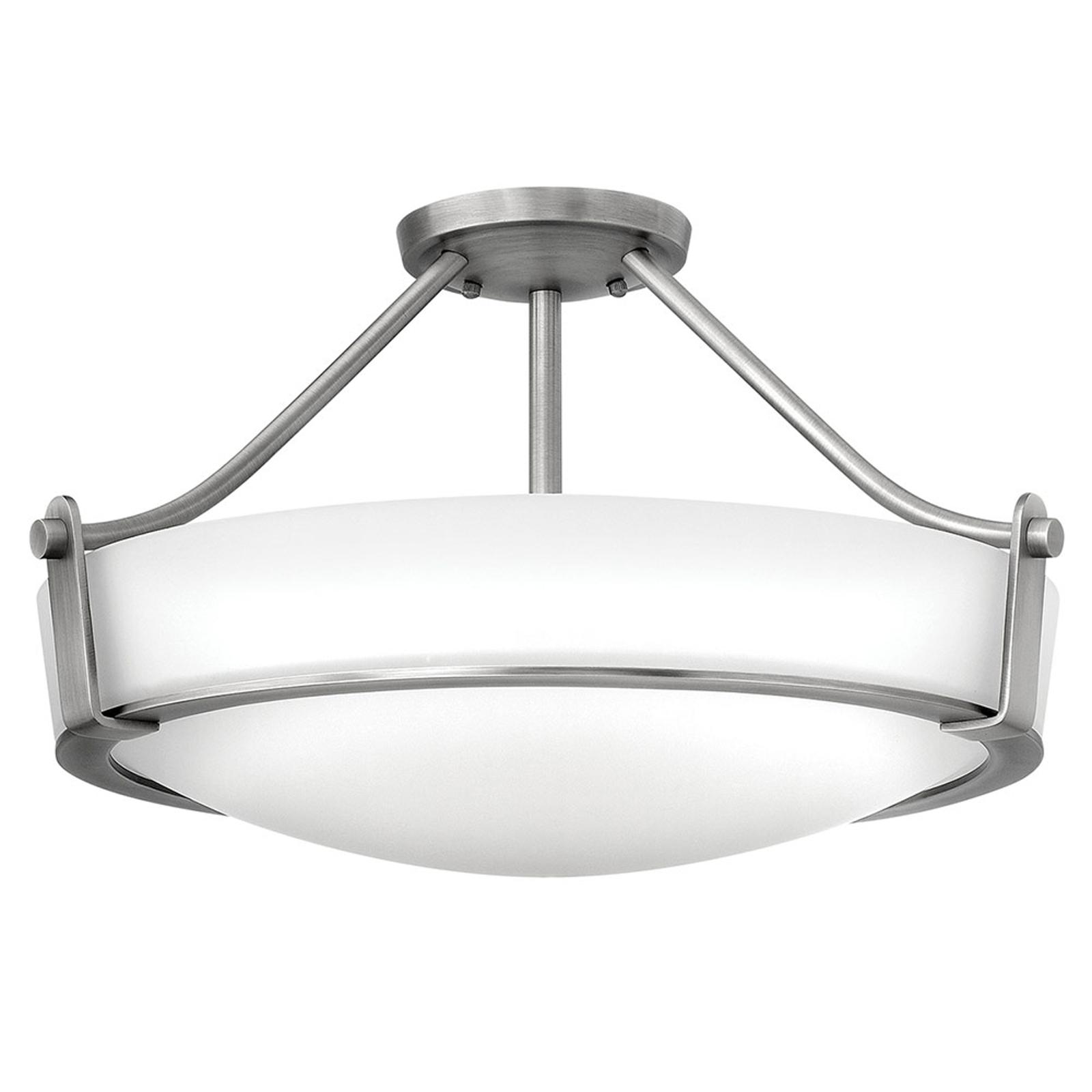 Lampa sufitowa Hathaway z dystansem, nikiel Ø 53cm