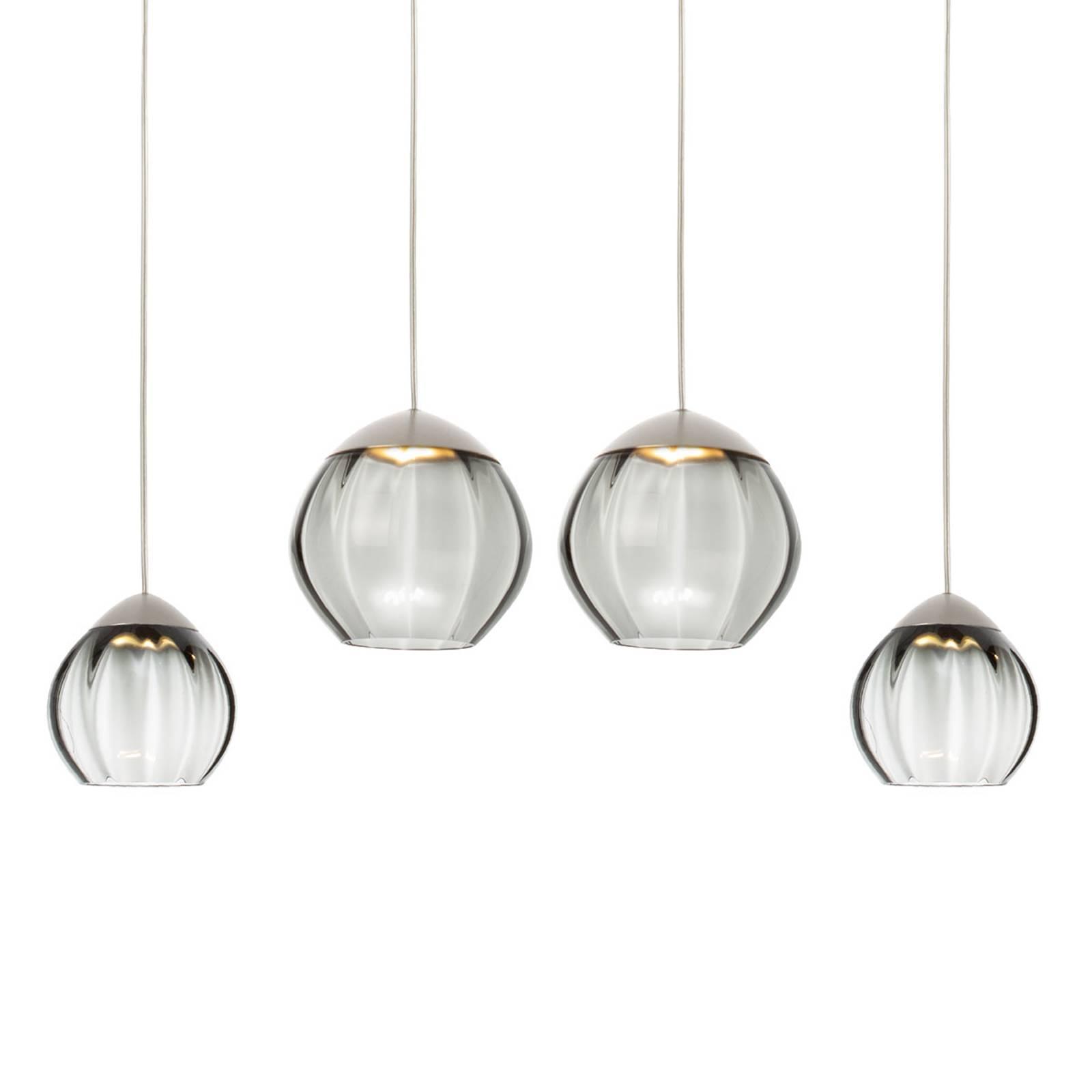 Vierflammige LED-Hängeleuchte Soft, Gläser schwarz