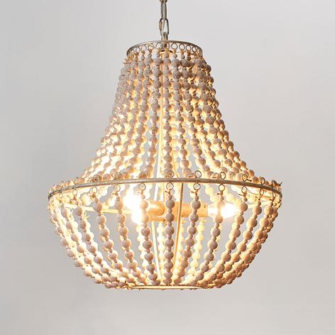 Lámpara de araña Juliette, perlas madera blancas