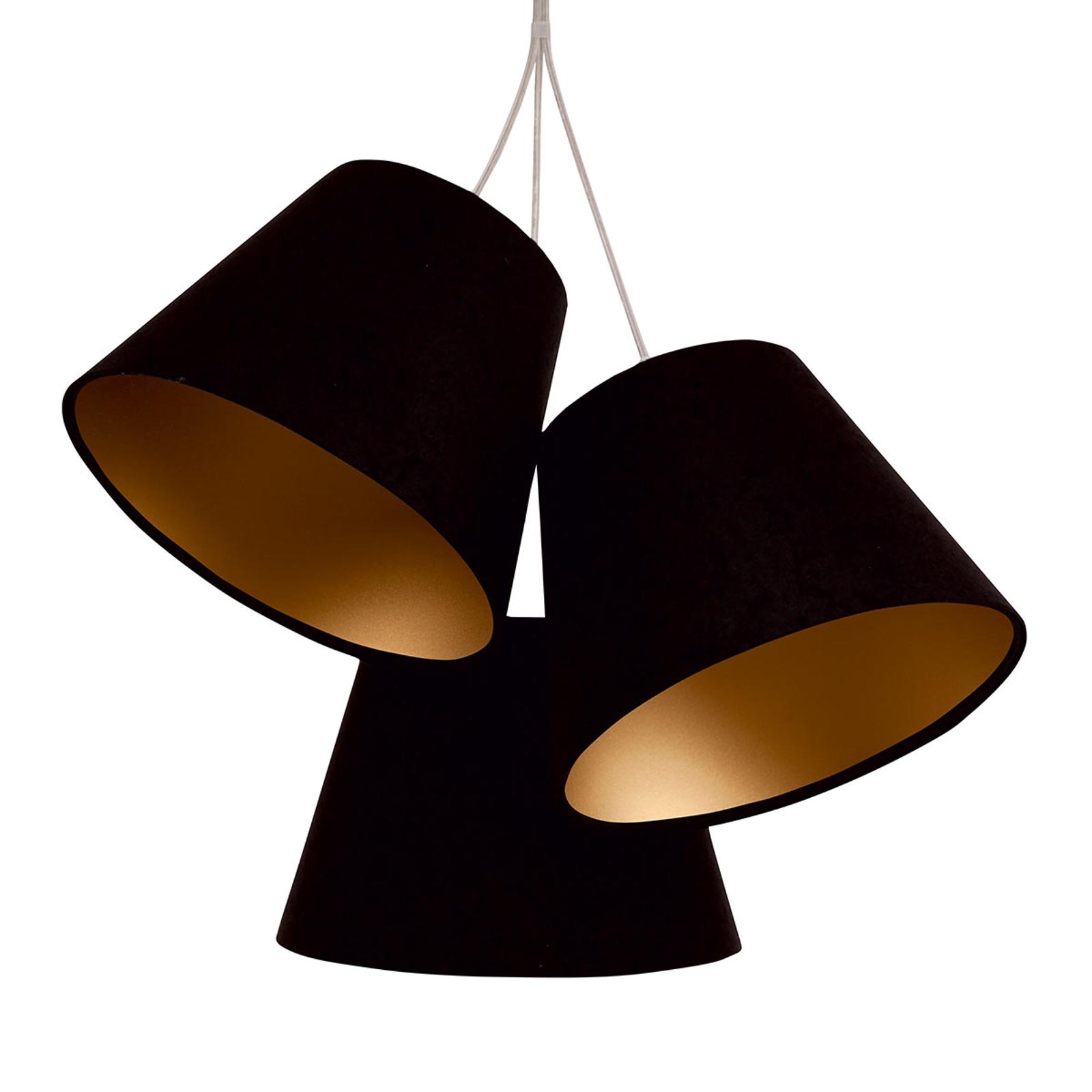 Hanglamp Sonia met textielkappen, 3-lamps