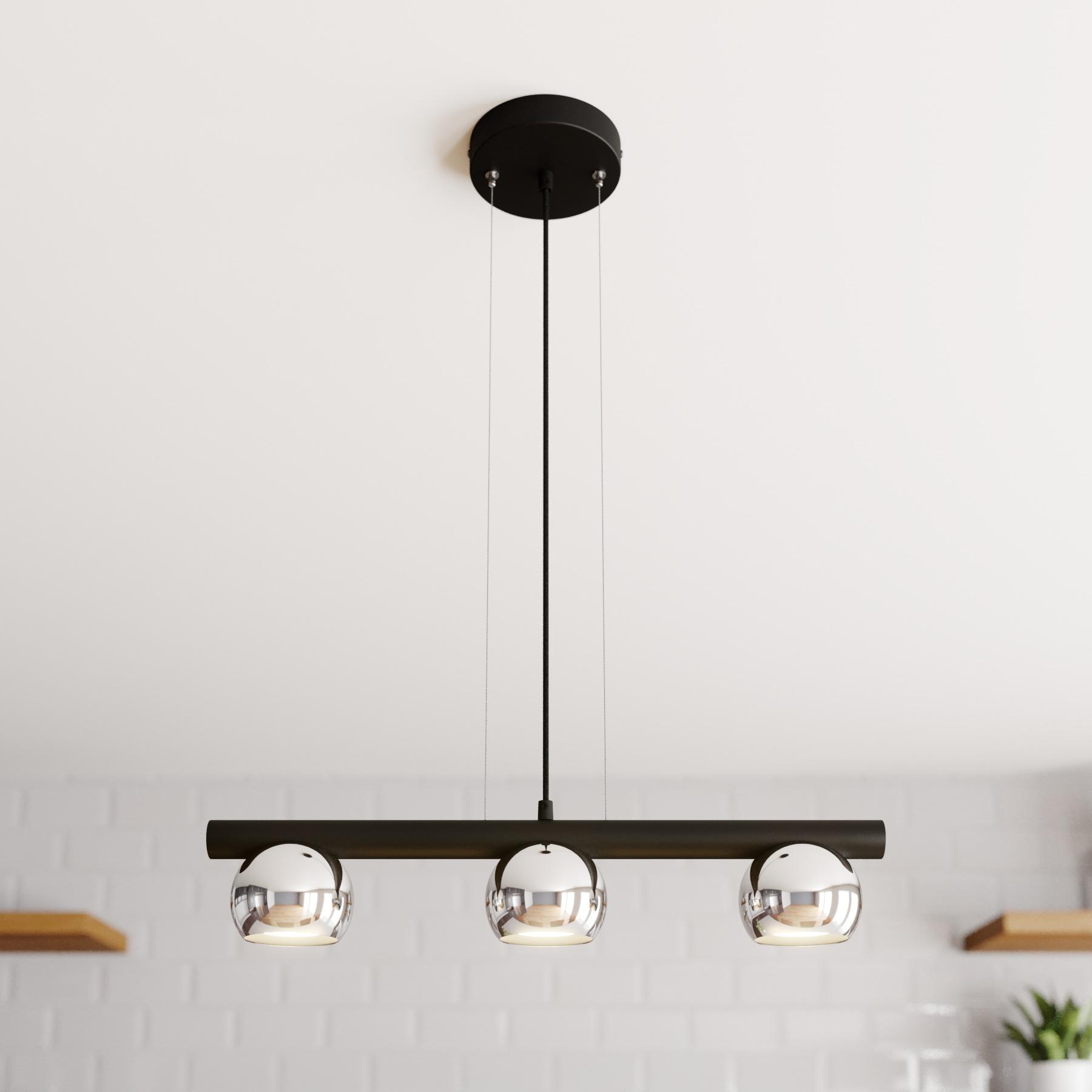 Hanglamp Hippo, 3-lamps, zwart en chroom