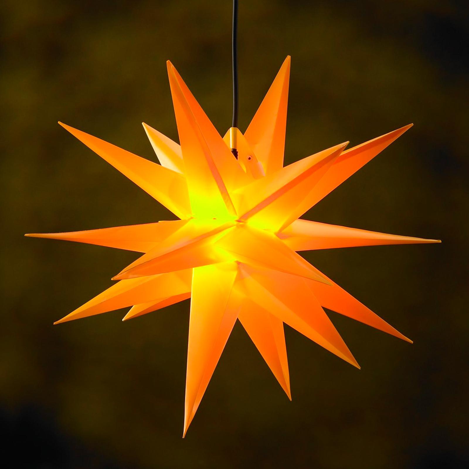Gul kunststof-stjerne Jumbo, udendørs, 18 takker