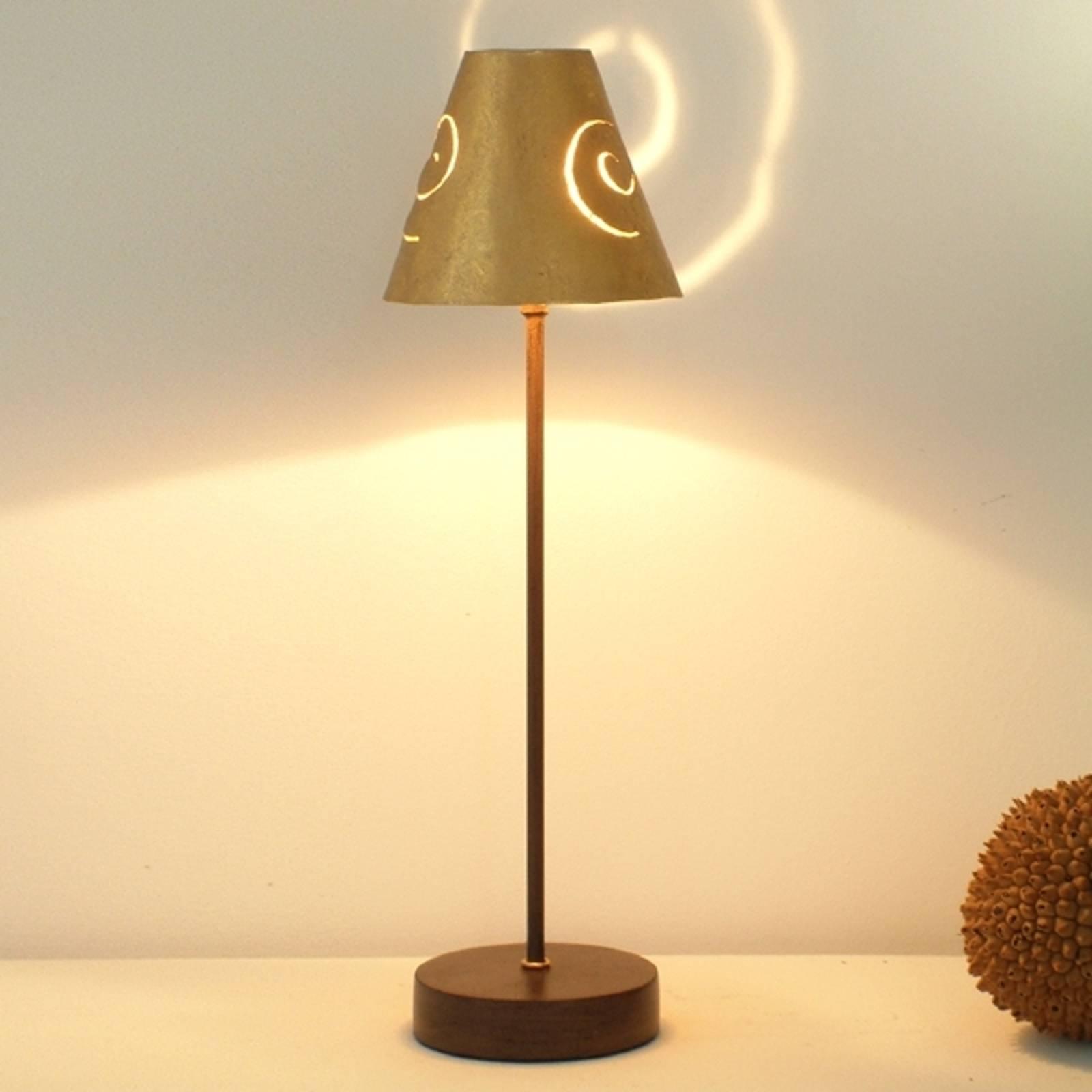 Élégante lampe à poser Schneckenhut Gold en fer
