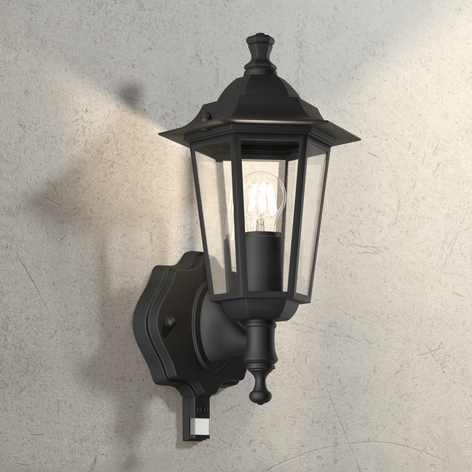 Buitenwandlamp Crown zwart, staand, met BWM