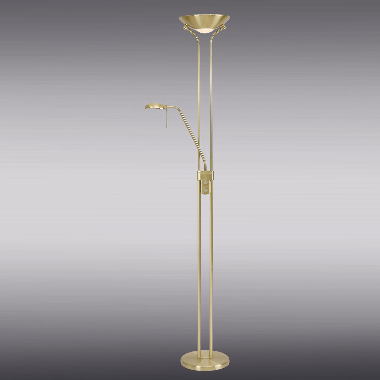 Messinginvärinen Malena-jalkalamppu himmentimellä