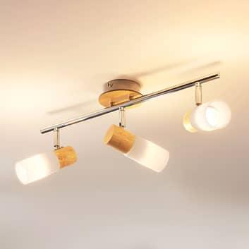 Christoph – LED-takspotlight med trä, 3 ljuskällor