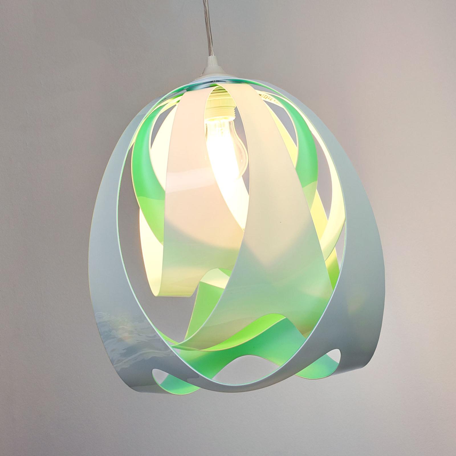 Slamp Goccia di Luce, hanglamp, blauw-groen