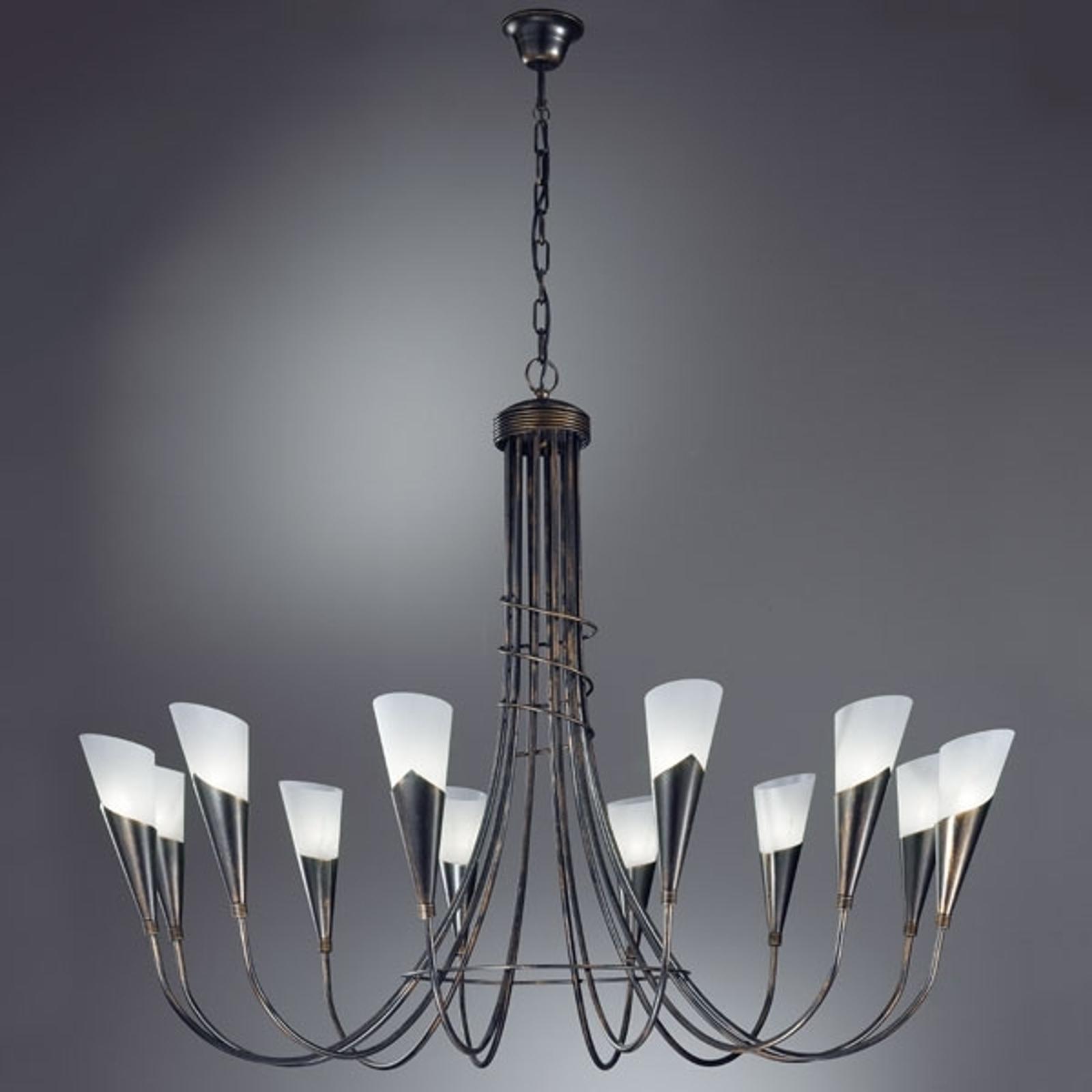 Kroonluchter CAMPAGNOLA, 12-lichts, zwart-koper