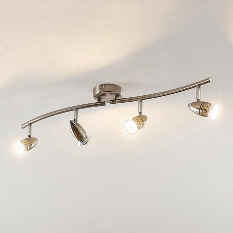ELC Kalean LED-loftspot, nikkel, 4 lyskilder