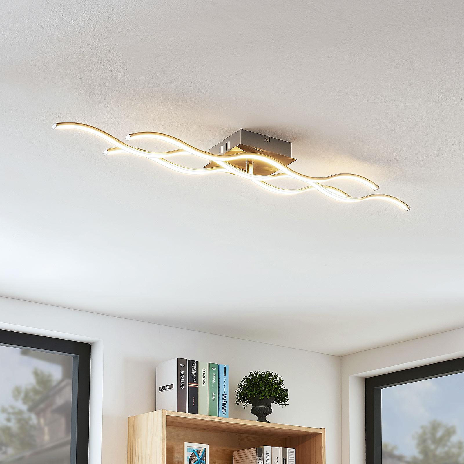 Plafonnier LED Safia à trois lampes, forme ondulée