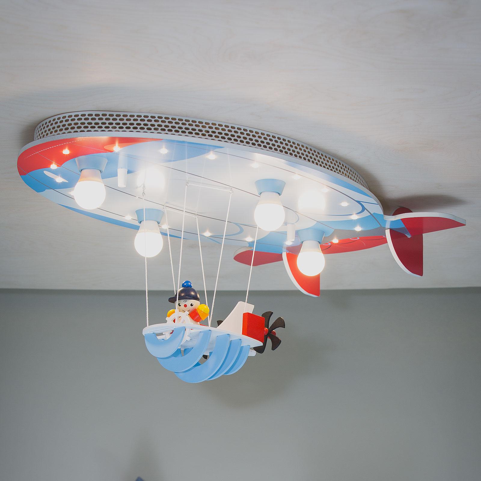 Plafondlamp luchtschip met Joe, blauw-rood-wit