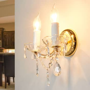 Vägglampa Dolores i kristall-look, 2 lampor