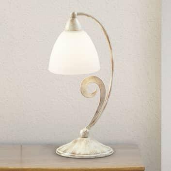Lámpara de mesa 1730/1L blanco satinado, marfil
