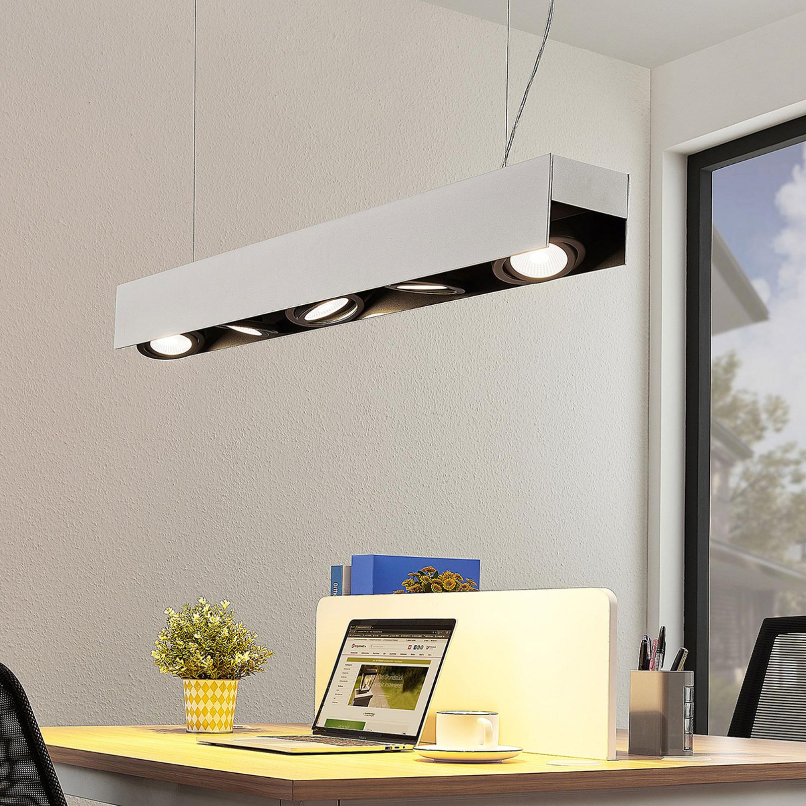 Arcchio Olinka LED-hængelampe, sort-hvid, 5 lk.