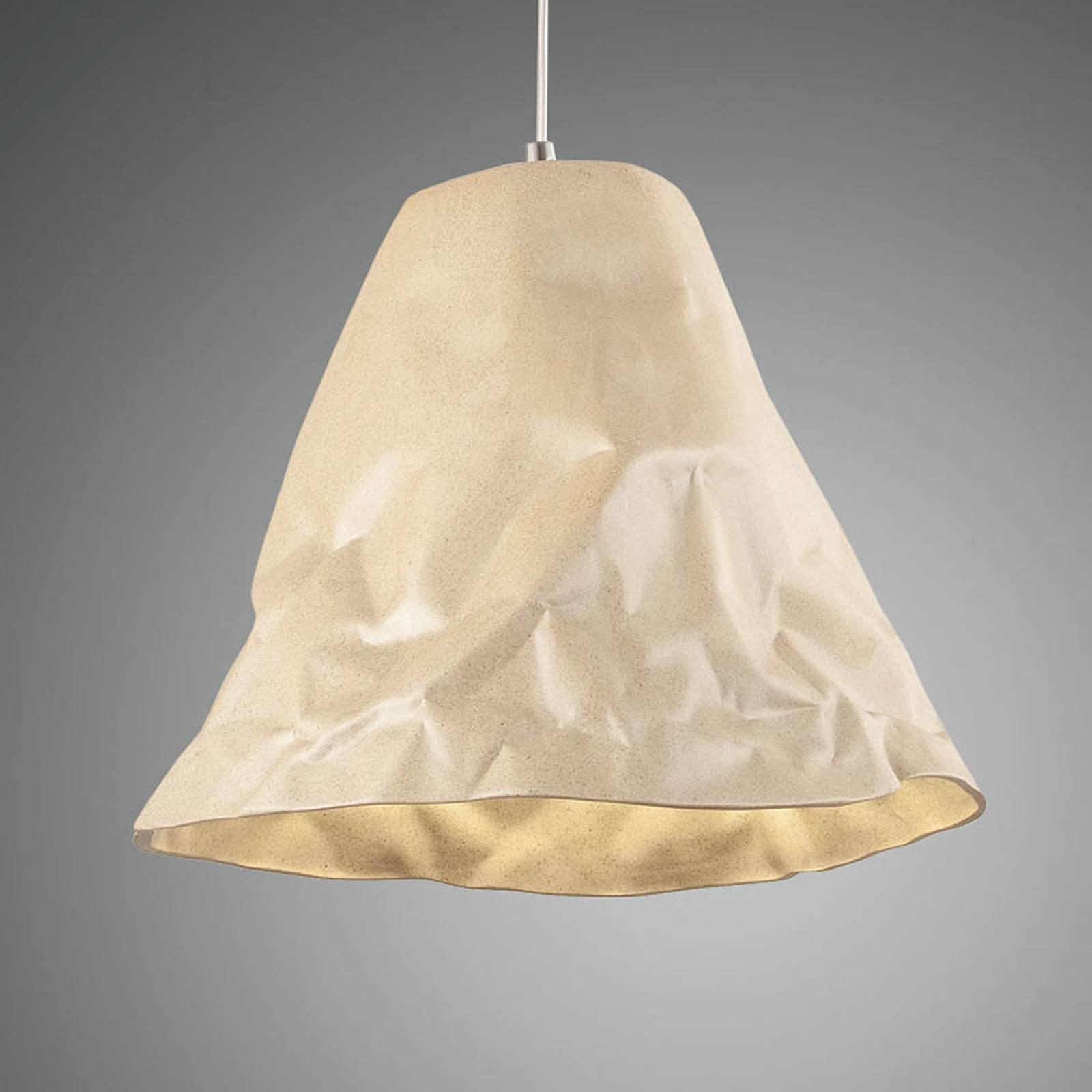 Lampa wisząca Crumple z ceramiki, khaki
