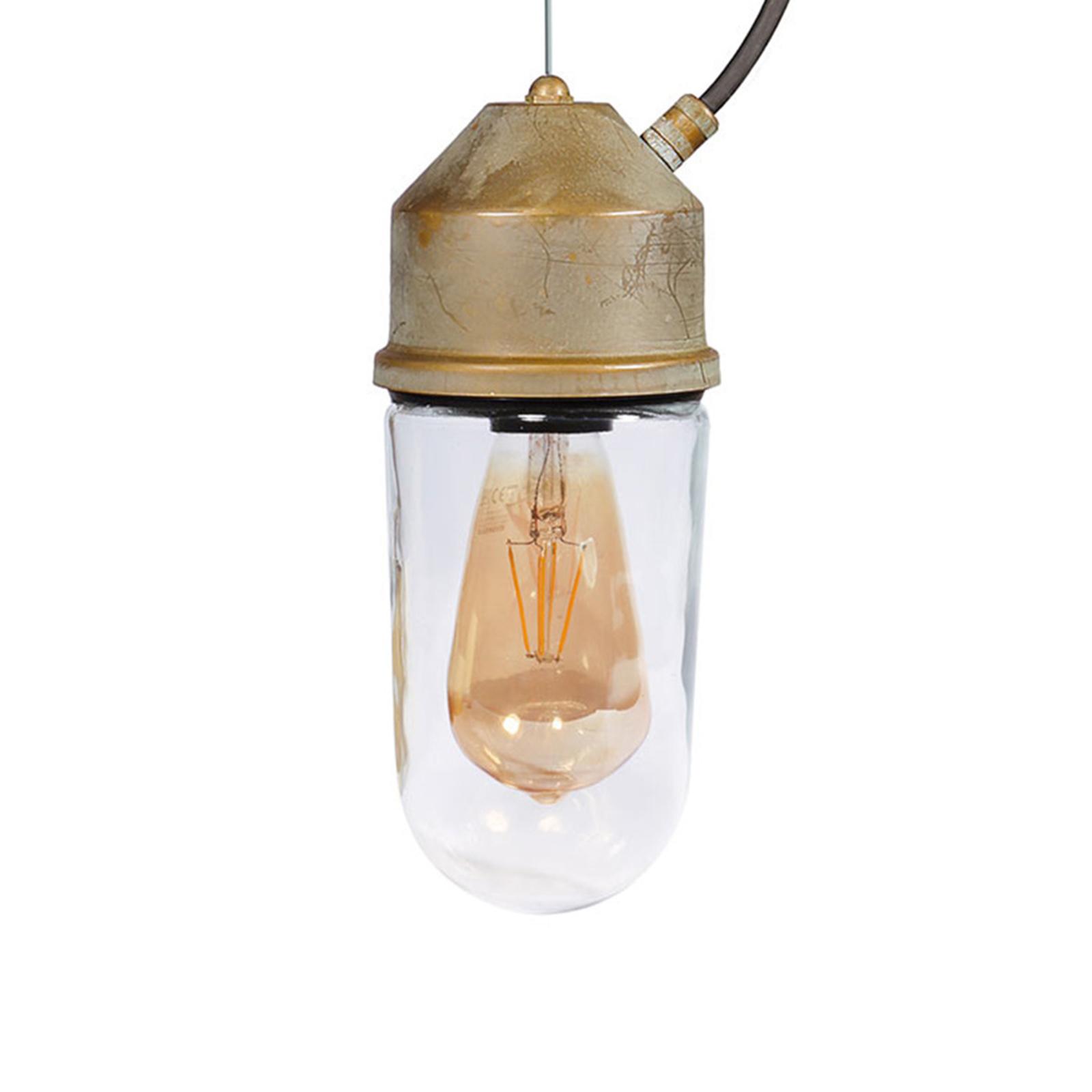 Hængelampe 1951N, antik messing, lige glas, klar