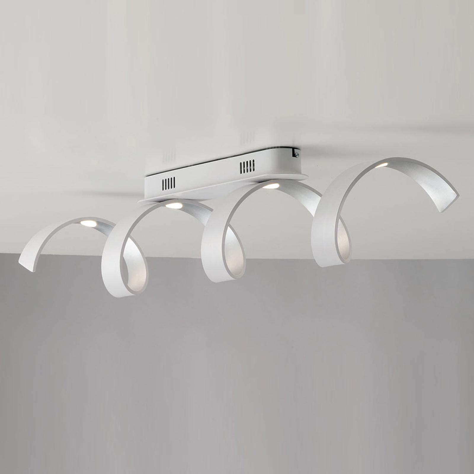 Helix LED-taklampe i hvit-sølv
