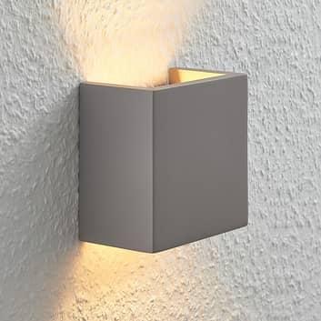 Beton-wandlamp Smira in grijs, 12,5 x 12,5 cm