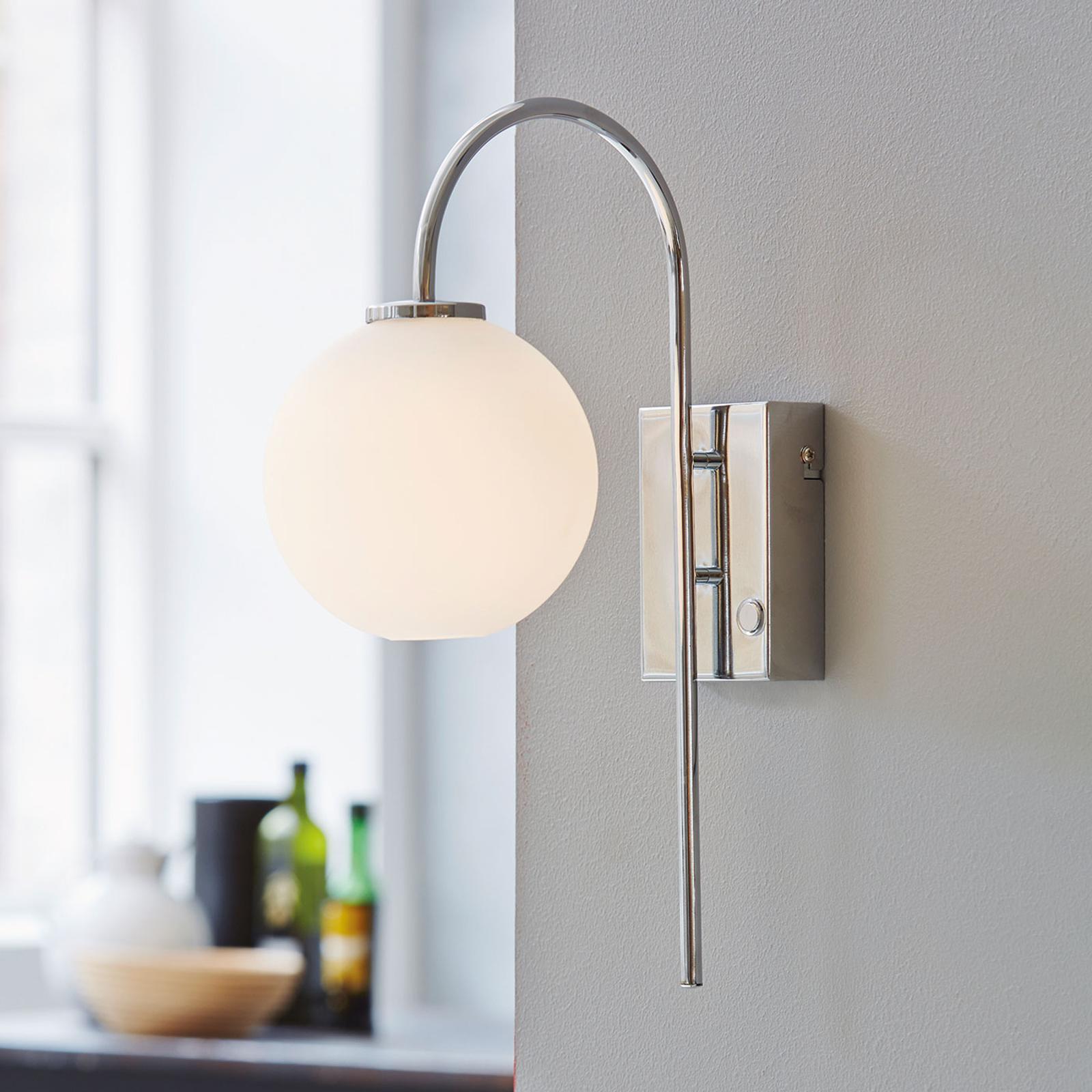 Wandlamp Ballon met stekker, 1-lamp, chroom