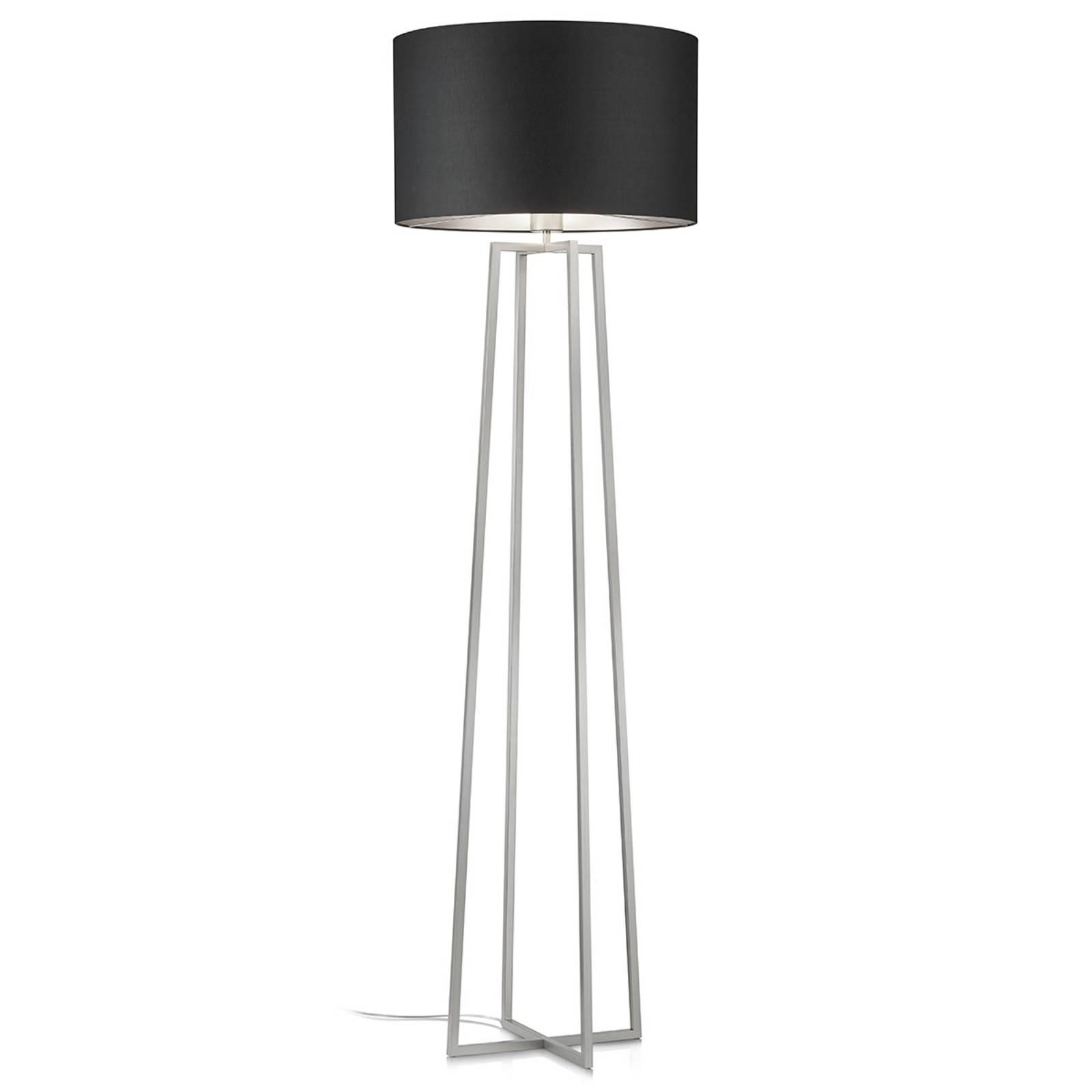 Dimmbare Stehlampe Hermes mit edlem Chintz-Schirm