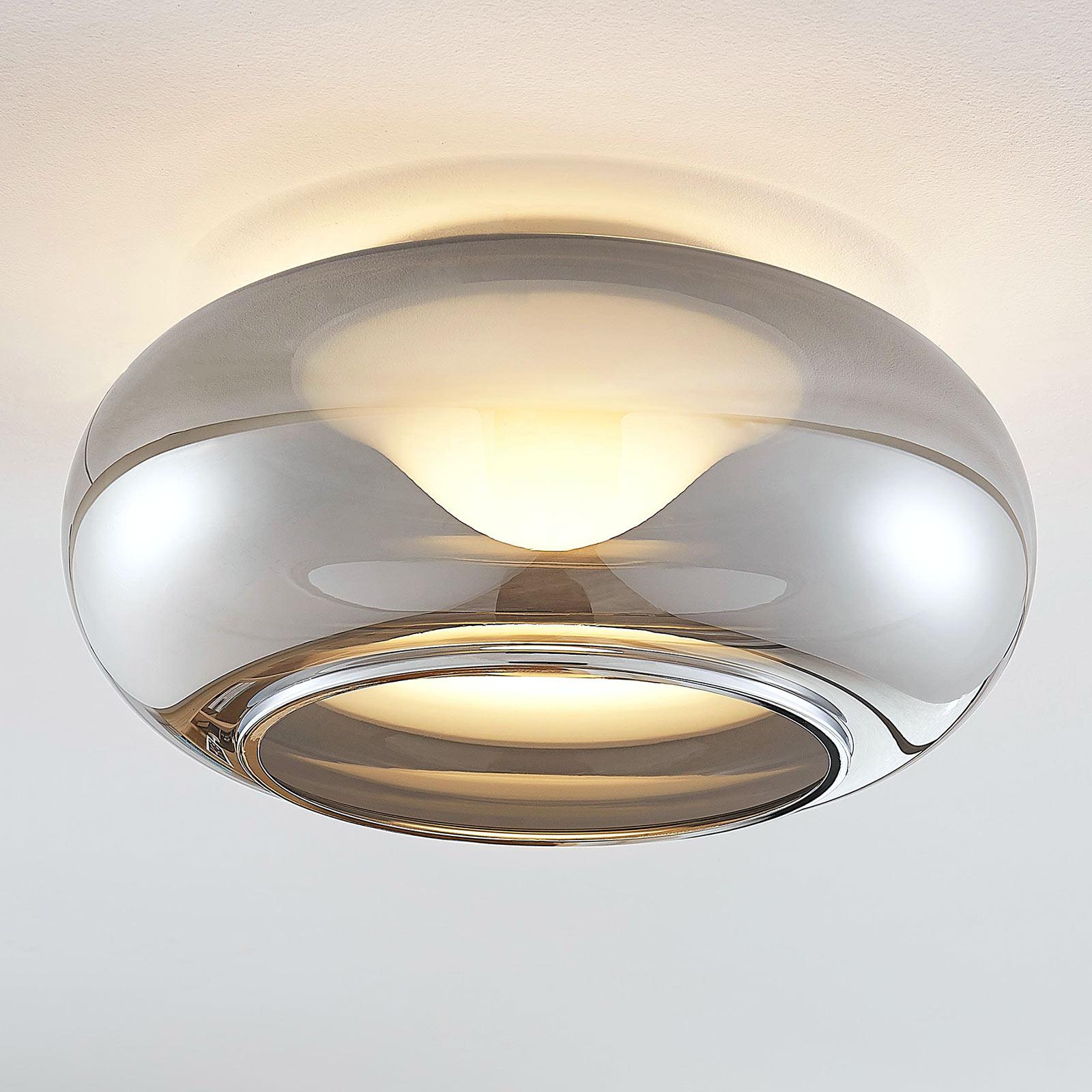 Glazen LED plafondlamp Mijo in rookgrijs