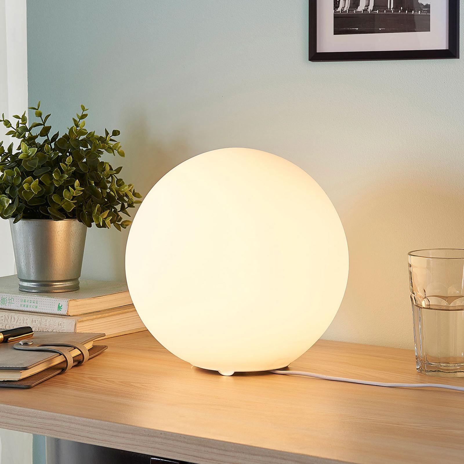 Pallomainen lasipöytälamppu Marike, valkoinen