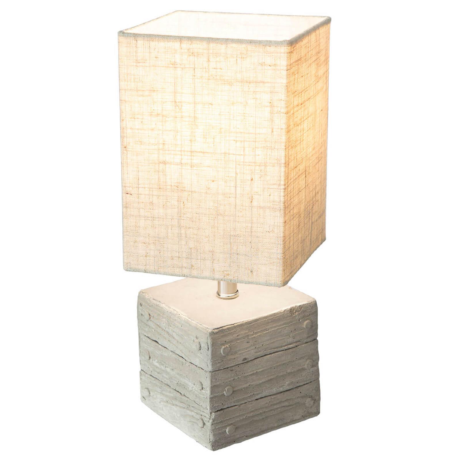 Lampe à poser Base en béton, forme de boîte Lisco