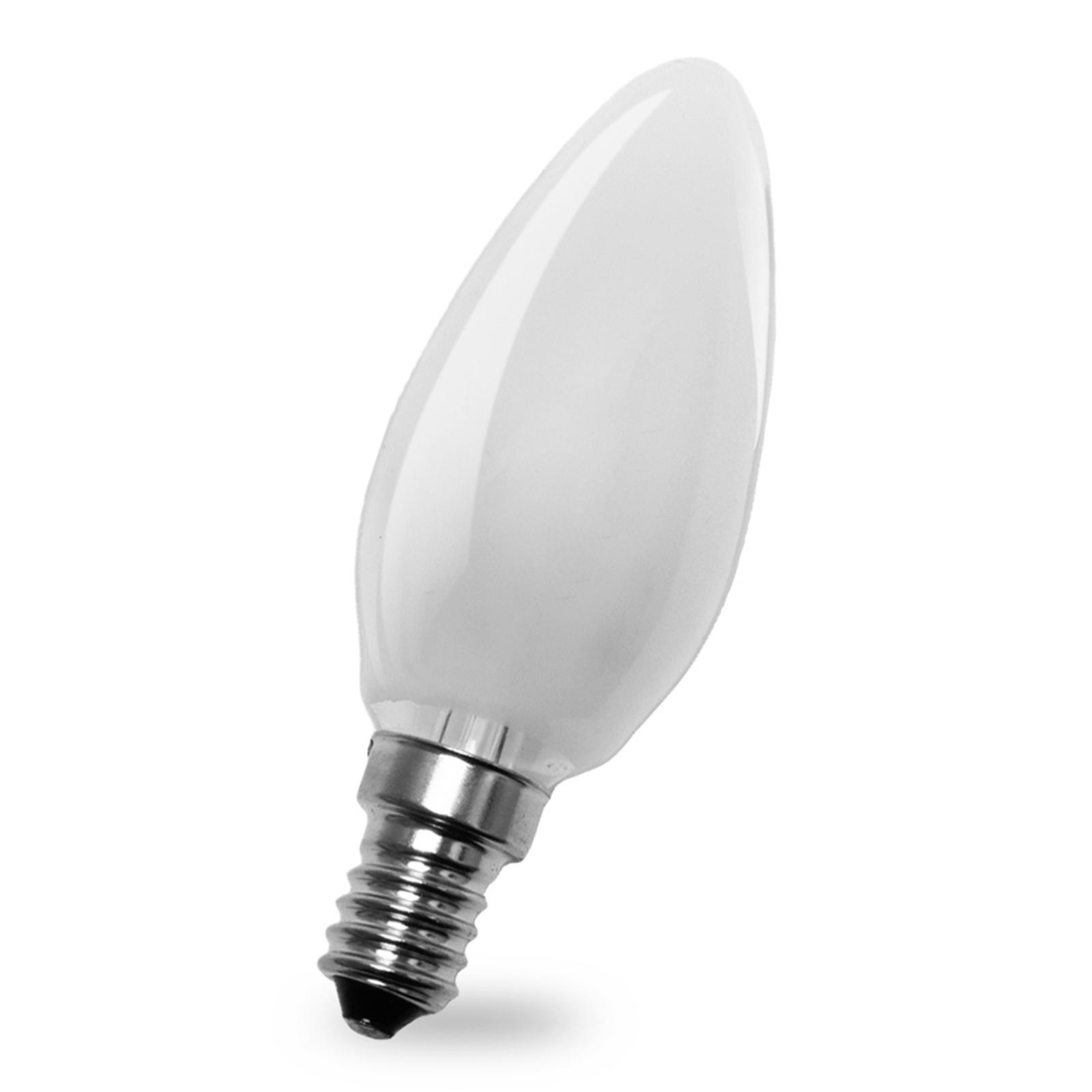 Lampadina a candela LED E14 4W 827, interno opaco