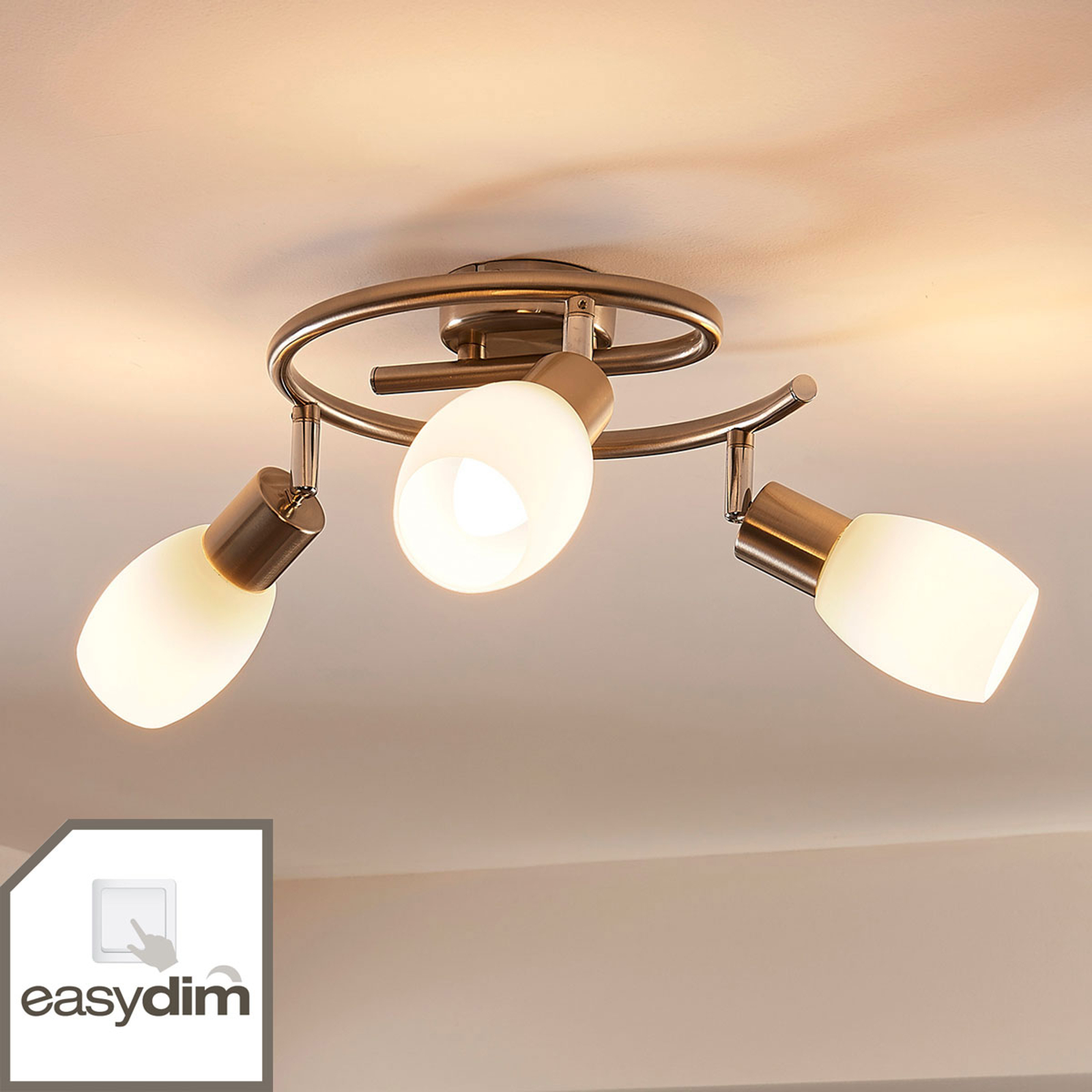 Lampada LED da soffitto a base tonda Arda a 3 luci
