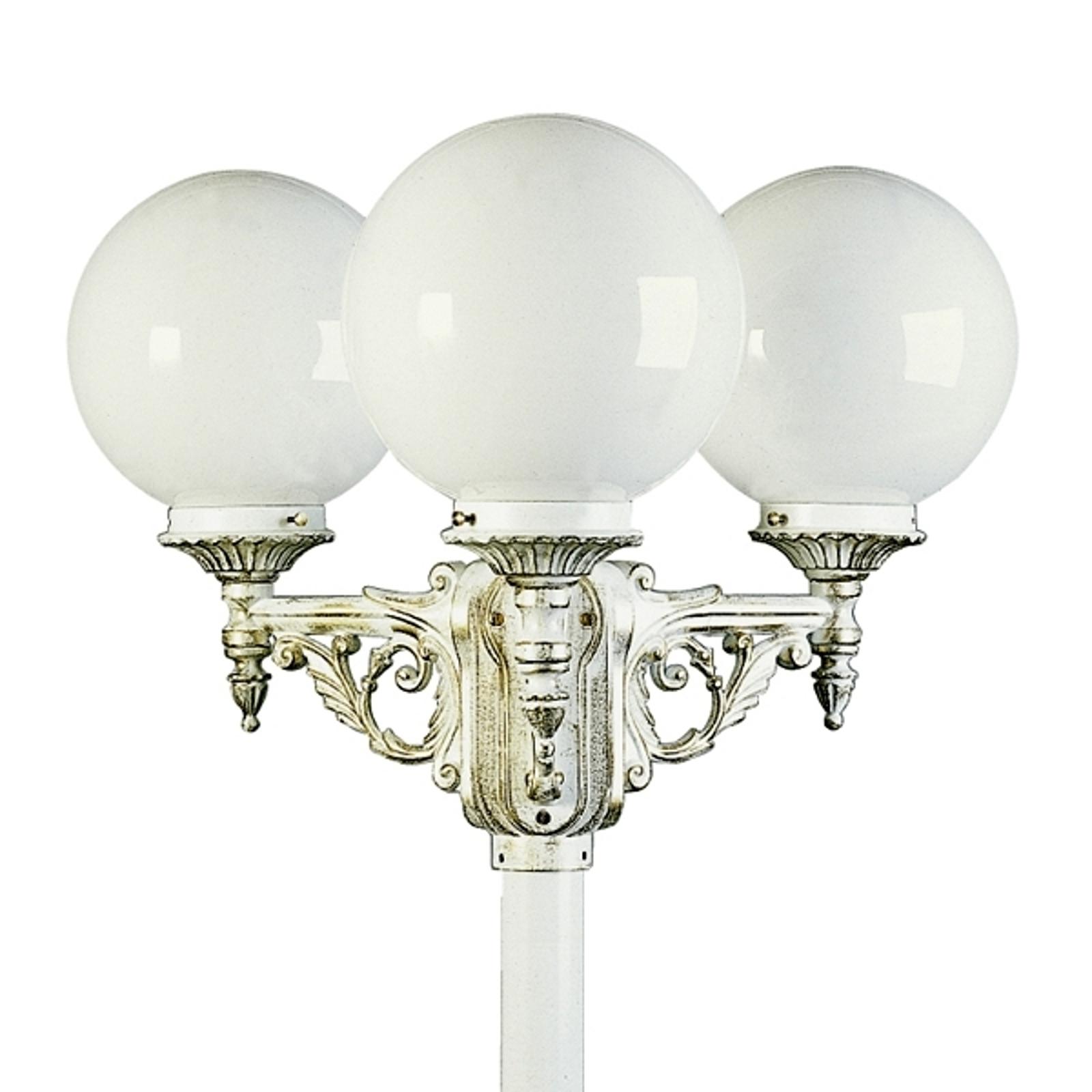 Upea lyhtypylväs 163 3-lamppuinen, kulta-valkoinen
